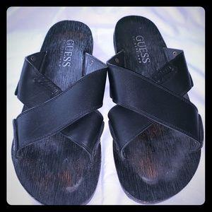 Guess Gilbert Men's Leather Cris-Cross Flat Slides
